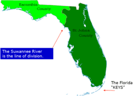 Graphic map of Florida showing Escambia County and Saint John's County separated by the Suwannee River as well as the Florida