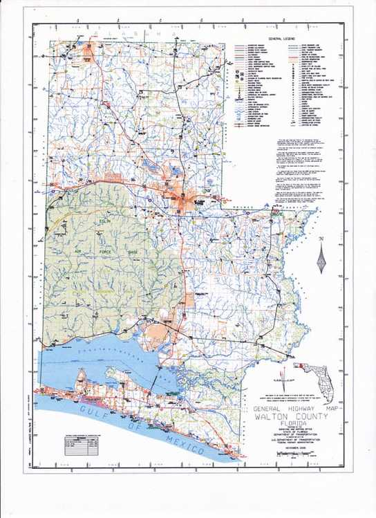 The Township Range Section Map of Walton County published by the State of Florida.