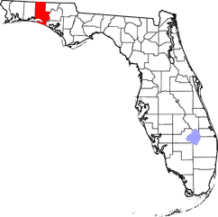 Current map of Florida showing all its Counties borders, with Walton County shown in RED and Lake Okeechobee in lite purple.